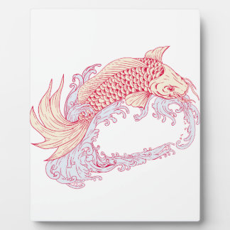 Nishikigoi Koi Jumping Waves Drawing Plaque