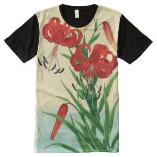 Nishimura Hodo Tiger Lilies Shin Hanga Flowers All-Over Print T-Shirt