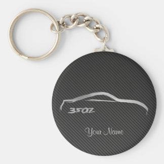 Nissan 350Z Brushstroke Logo w/ Faux Carbon Fiber Basic Round Button Key Ring