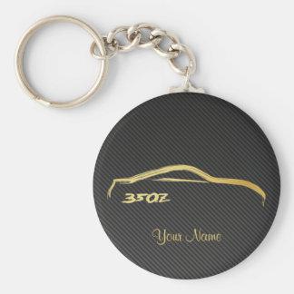 Nissan 350Z Gold Brush stroke Logo w/ faux carbon Key Ring