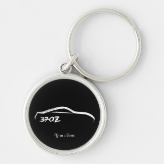 Nissan 370Z Logo with Black Background Silver-Colored Round Key Ring