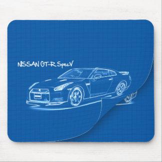 Nissan GT-R SpecV Blueprint Mousepad
