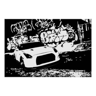 Nissan Skyline GTR with Graffiti Backdrop Poster