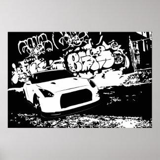 Nissan Skyline GTR with Graffiti Backdrop Posters