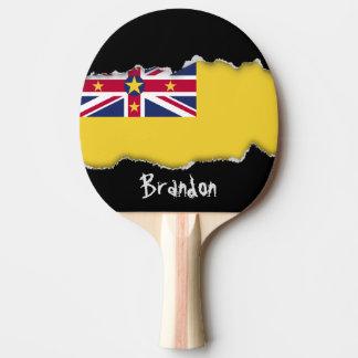 Niue Flag Ping Pong Paddle