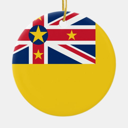 Niue National World Flag Ceramic Ornament