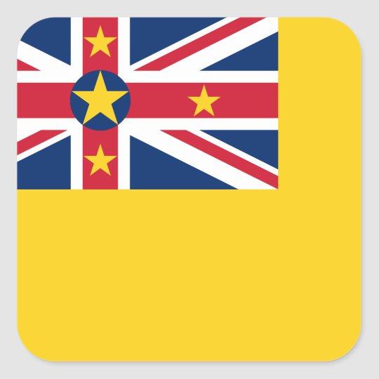 Niue National World Flag Square Sticker