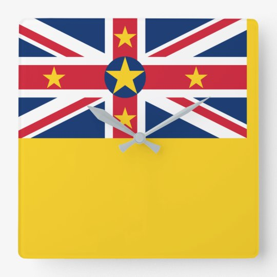 Niue National World Flag Square Wall Clock