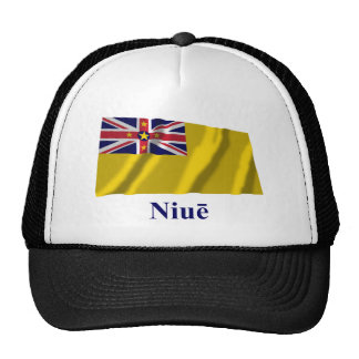 Niue Waving Flag with Name in Niuean Cap