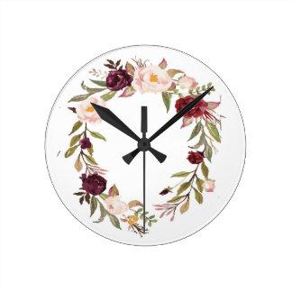 NJCO Flower Wreaths Round Clock