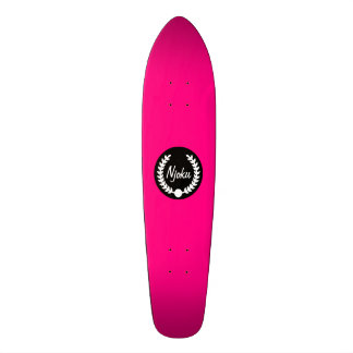 Njoku Pink 'Wreath' Skateboard. Skateboard Deck