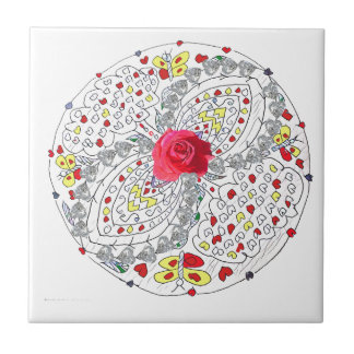 No. 8 Mandala with Roses and Diamonds Small Square Tile