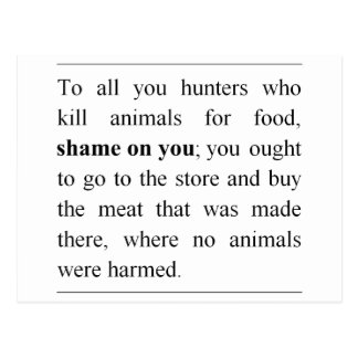 No animals harmed at supermarket meat counter postcard