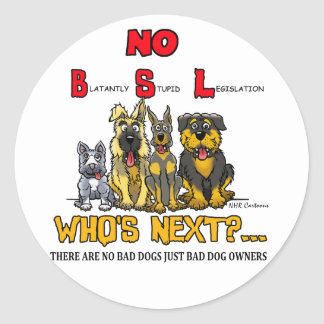 No B.S.L  No Breed Specific Legislation Classic Round Sticker