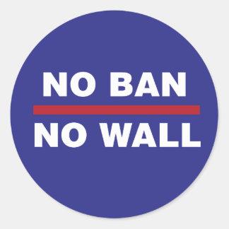 NO BAN NO WALL CLASSIC ROUND STICKER