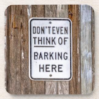 No Barking Sign Beverage Coasters