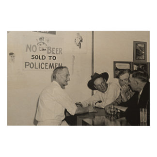 No Beer Sold to Policemen. Prohibition. Americana. Wood Print