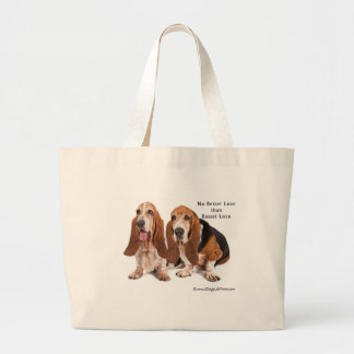 no better love than basset love large tote bag