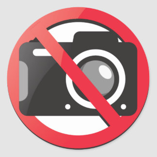 No camera allowed classic round sticker