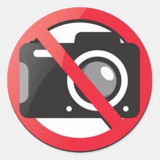 No camera allowed round sticker