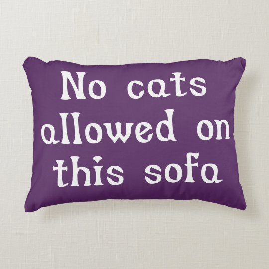 No Cats Allowed on this Sofa Decorative Cushion
