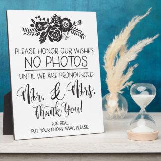 No Cell Phone Photos Wedding Ceremony Plaque