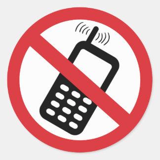 No Cell Phones Round Sticker