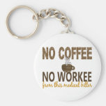No Coffee No Workee Medical Biller Basic Round Button Key Ring