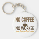 No Coffee No Workee Medical Coder Basic Round Button Key Ring