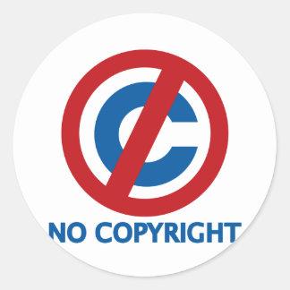 No Copyright Round Sticker