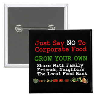 No Corporate Food 15 Cm Square Badge