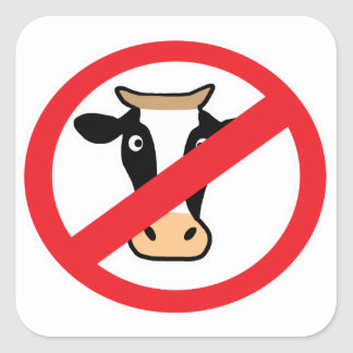 No Cows Square Sticker