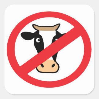 No Cows Square Sticker