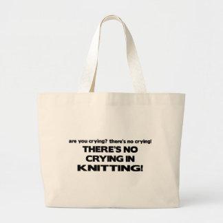 No Crying - Knitting Large Tote Bag