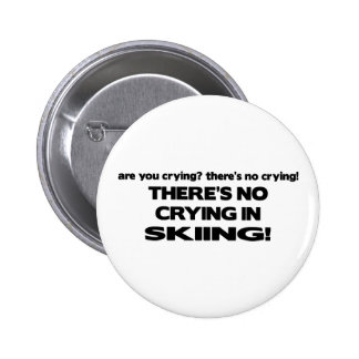 No Crying - Skiing Pinback Buttons