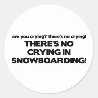 No Crying - Snowboarding Classic Round Sticker