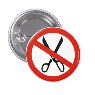 No Cuts Scissors Stop Round Warning Road Sign 3 Cm Round Badge