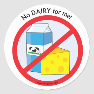 """ No dairy for me"" stickers"