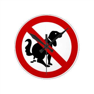 NO Dog Fouling ⚠ Thai Sign ⚠ Round Wallclock