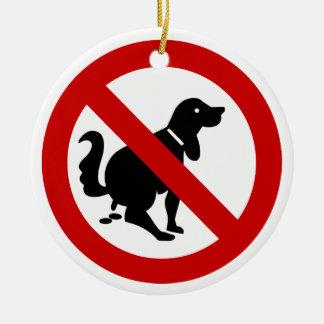 NO Dog Fouling ⚠ Thai Sign ⚠ Round Ceramic Decoration