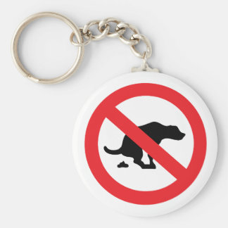 No dog poop sign funny sarcastic basic round button key ring
