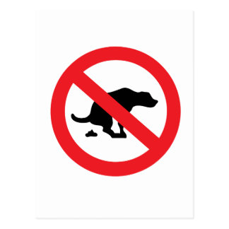 No dog poop sign funny sarcastic postcard