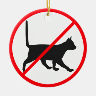 NO Dogs NO Cats Round Ceramic Decoration