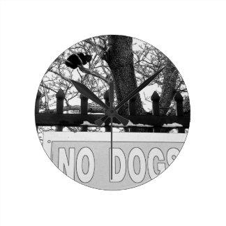 No Dogs Wallclock