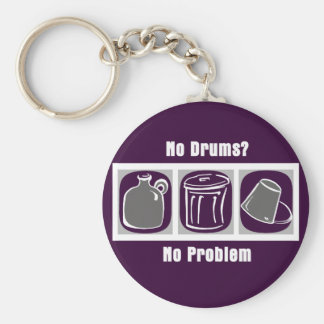 No Drums No Problem Basic Round Button Key Ring