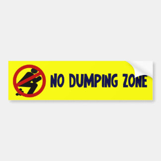No Dumping Zone Bumper Sticker