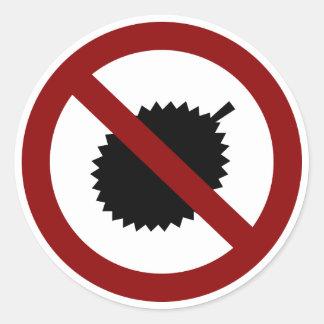 No Durian Classic Round Sticker
