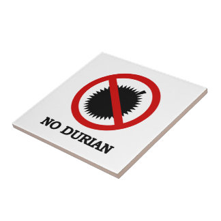NO Durian Tropical Fruit Sign Small Square Tile
