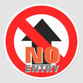 No Entry Warning Sign Classic Round Sticker