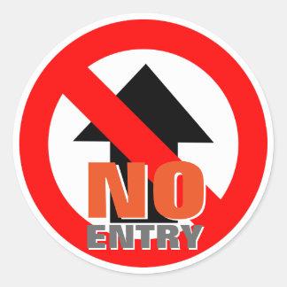 No Entry Warning Sign Round Sticker